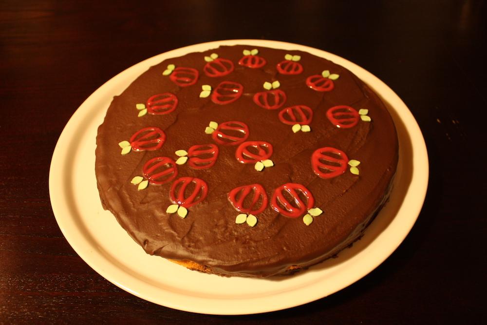 Kurbiskuchen Mit Schokoladenglasur Landidylle