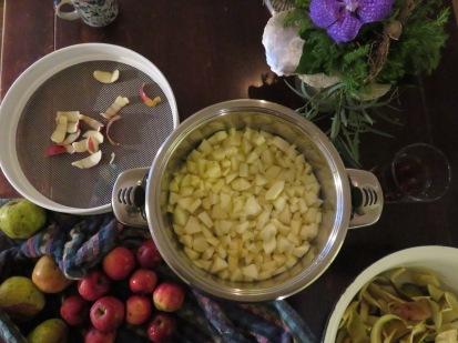 Apfelkompott und Apfelschale für Tee