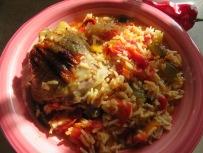 Paprikahuhn mit Reis
