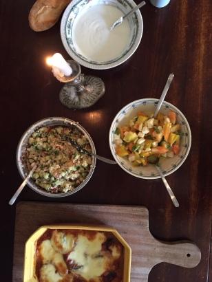 Parmigiana di Melanzane, Tomatensalat + Tabouleh