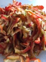 Fein geschnittene Paprika